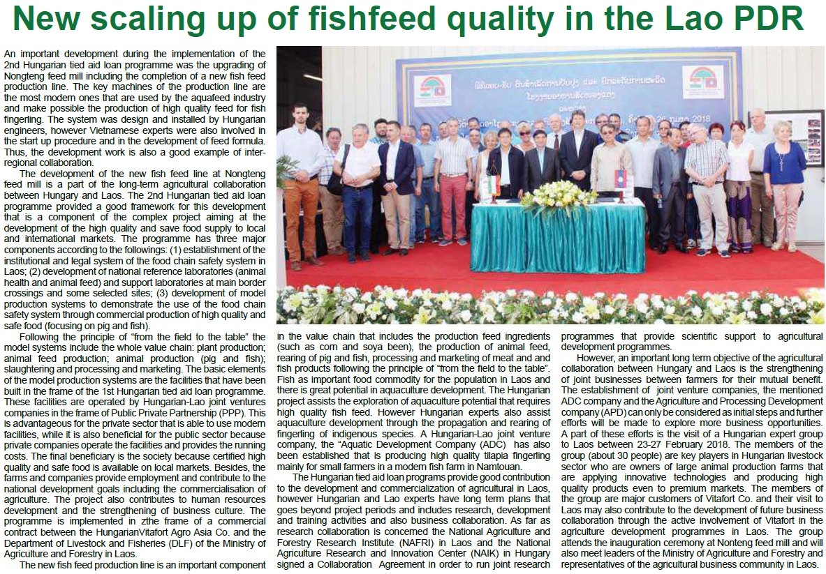 New scaling up of fishfeed quality in the Lao PDR